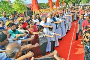620 km long human chain comprising 70 lakh people formed in Kerala in protest against CAA