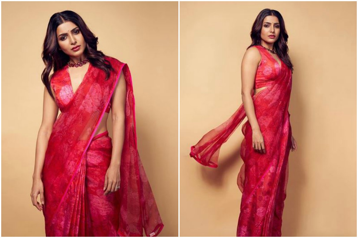 Samantha Akkineni's floral red saree-look is tempting