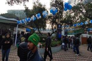 Celebrations erupt at AAP Delhi office as early trends show massive lead for party