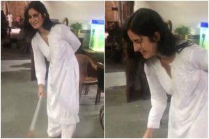 Akshay Kumar shares BTS from Sooryavanshi sets, shares Katrina Kaif's video as she sweeps floor