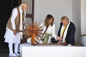 Trump spins Mahatma Gandhi's Charkha at Sabarmati Ashram, praises 'great friend' PM Modi