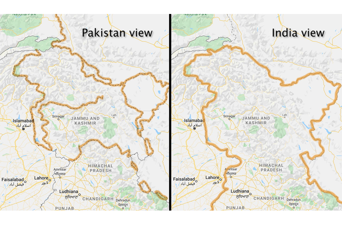 Kashmir disputed, Google Maps