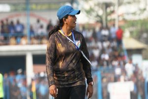 Indian women's football coach scouts for talent in Khelo India University Games