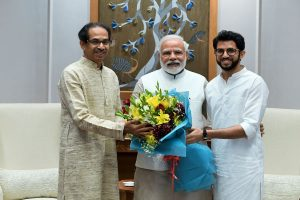 Amid veiled tussle with partners, Uddhav Thackeray with son Aaditya meets PM Modi