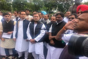 Rahul Gandhi leads protest against suspension of Congress MPs; Lok Sabha adjourned till 12 noon