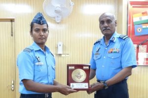 Indian Air Force felicitates Shikha Pandey for her performance in Women's T20 World Cup