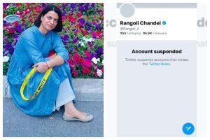 Rangoli Chandel's twitter handle suspended over controversial post