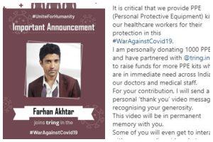 Coronavirus Outbreak: Farhan Akhtar donates 1,000 PPE kits to healthcare workers