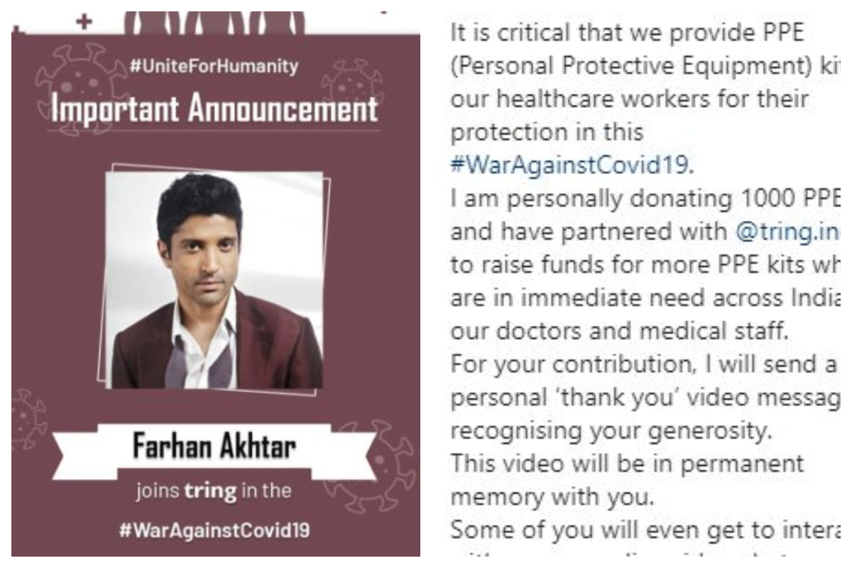 Farhan Akhtar, Healthcare workers