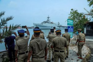 Naval warship INS Jalashwa arrives at Kochi harbour with 698 stranded Indians from Maldives