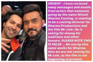 'Please note this is false': Shashank Khaitan warns against casting scam for Varun Dhawan's Mr Lele