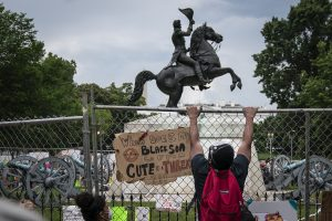 Thousands of protesters try to topple former US President Andrew Jackson's statue outside White House