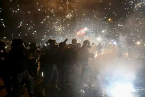 11 injured as anti-govt protests turn violent in Lebanon