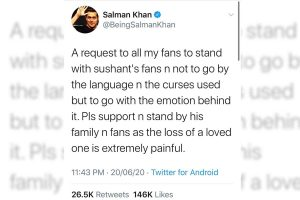 Salman Khan requests fans to stand with Sushant's family, fans