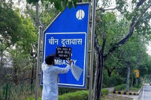Right-wing outfit Hindu Sena defaces Chinese Embassy signboard in Delhi