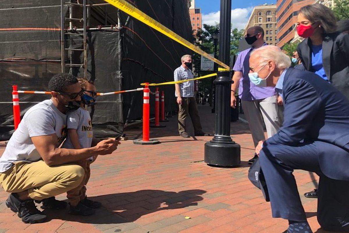 Joe Biden visits protest site in Delaware