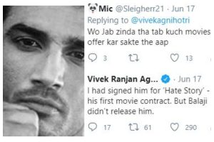 'Sushant Singh Rajput was to make Bollywood debut with Hate Story': Filmmaker Vivek Agnihotri responds to Twitter user