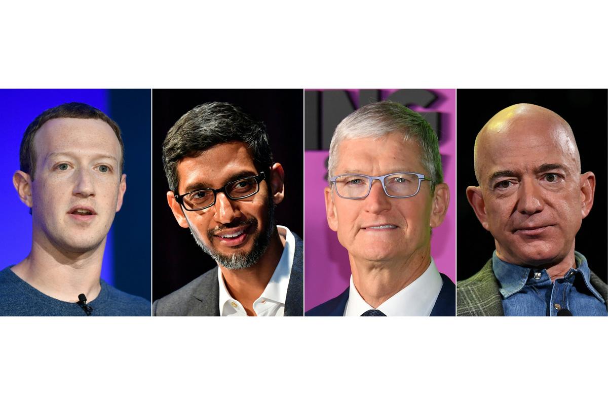 Zuckerberg, Bezos, Pichai, Tim Cook, Apple, Google, Facebook, Amazon
