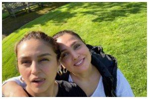 Lara Dutta and Huma Qureshi get goofy on 'Bell Bottom' set