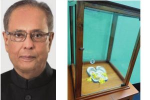 Idol Pranabda's slippers these are, venerated and worshipped