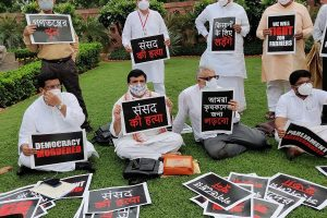 8 suspended MPs refuse to leave Parliament premises, stage sit-in protest near Gandhi statue