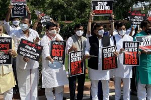 Opposition MPs stage protest against Centre at Parliament demanding GST compensation for states