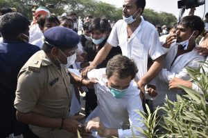 Rahul Gandhi alleges police lathicharged him during foot-march to Hathras