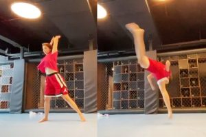 Disha Patani aces butterfly kick, Tiger Shroff is impressed