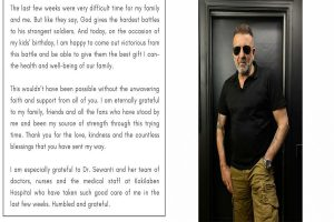 Sanjay Dutt defeats cancer, issues statement with health update