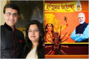 Sourav Ganguly's wife Dona Ganguly performs at BJP Mahila Morcha's Durga Puja in Kolkata