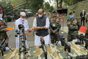 Rajnath Singh performs 'Shastra Puja' at Sikkim's Sherathang less than 2 km from LAC