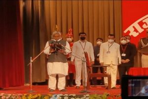 Nitish Kumar takes oath as Chief Minister of Bihar with 2 deputies from BJP; RJD skips ceremony