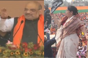 Women show black flag to Amit Shah during rally at West Bengal's Namkhana