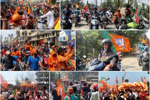 On scooter, Smriti Irani leads BJP rally