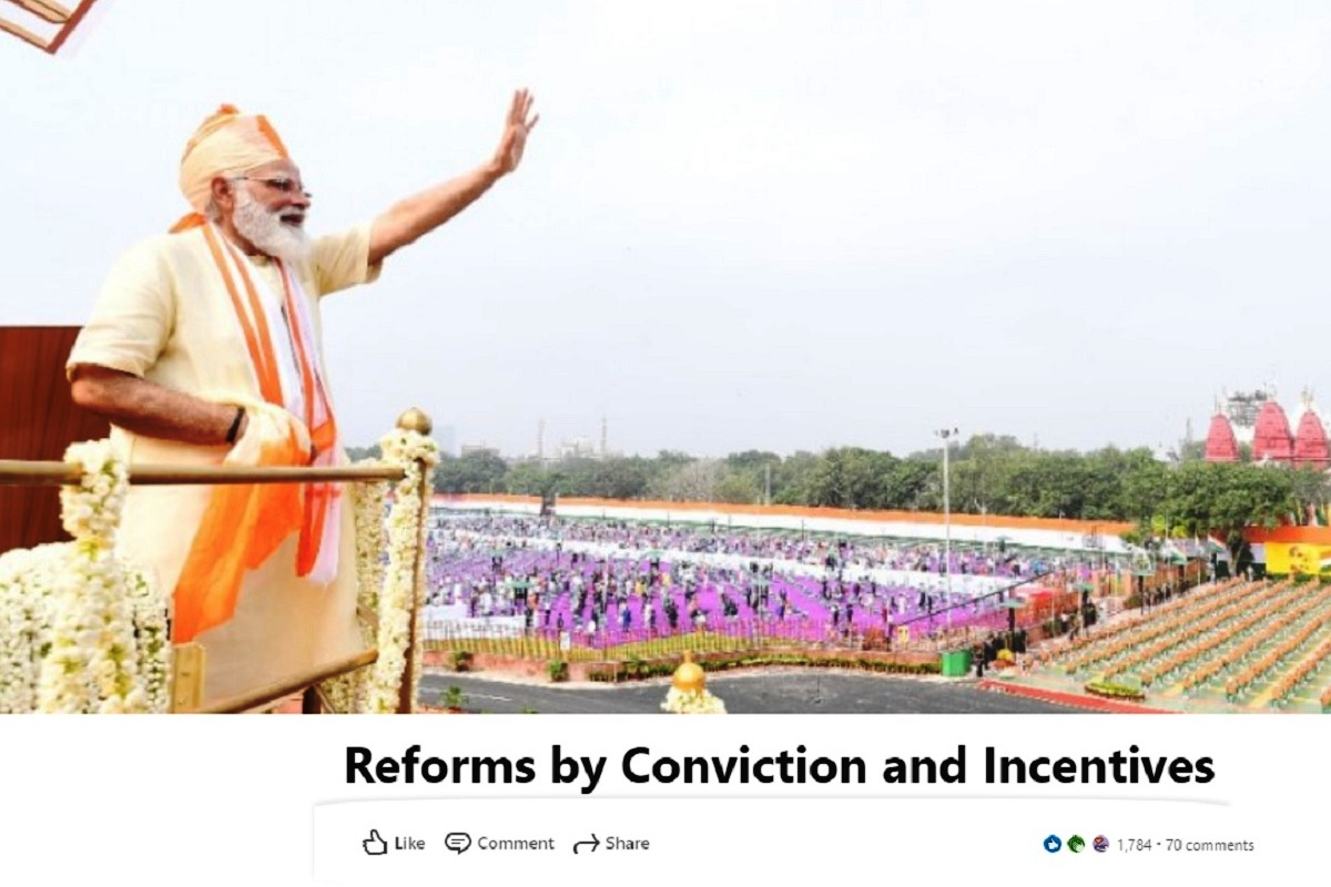reforms and policy-making, Narendra Modi, LinkedIn platform, Reforms by Conviction and Incentives