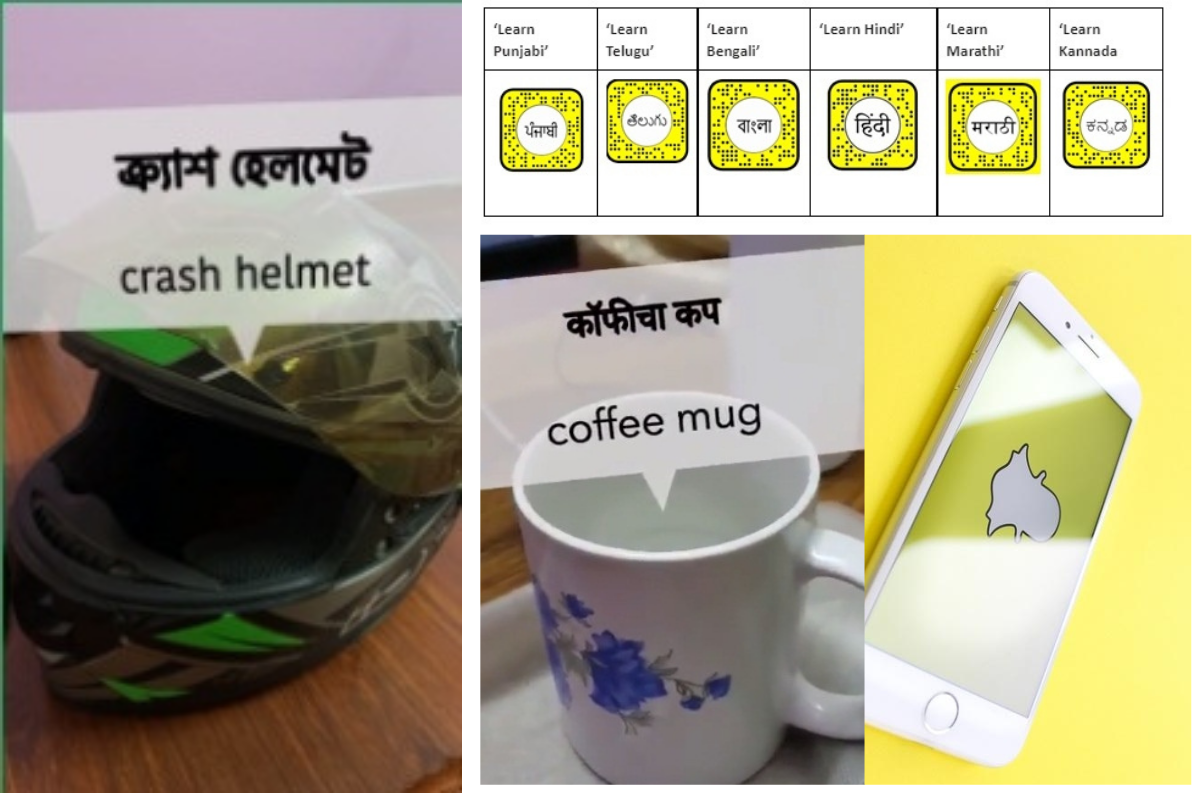 learn Indian languages, AR lenses, Snapchat