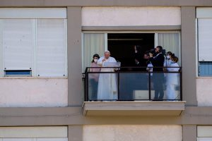 Pope Francis makes first appearance since intestinal surgery