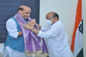 Karnataka CM Bommai meets Rajnath Singh