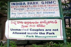 Banner from Hyderabad park removed after outrage over 'moral policing'