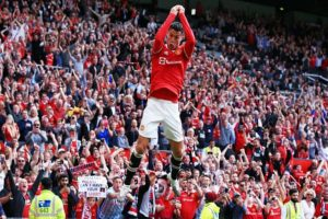 Cristiano Ronaldo struck a brace of goals in his first match on return to Manchester United