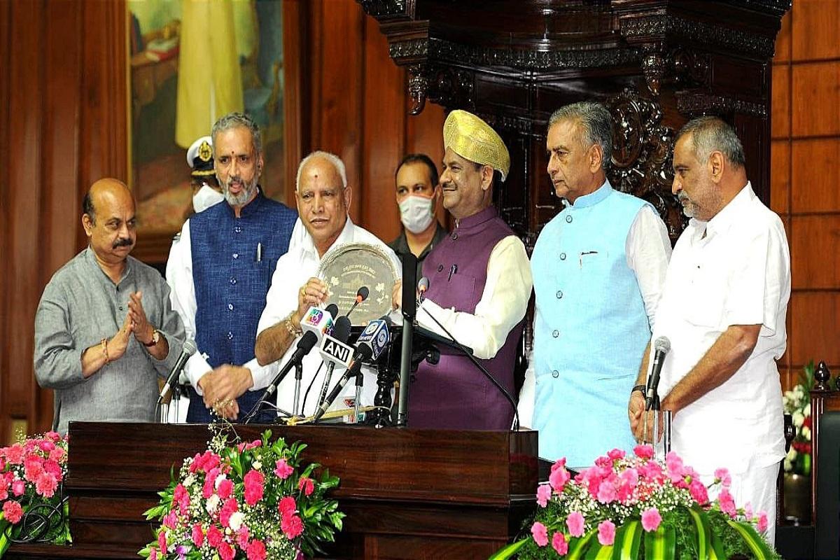 Karnataka Assembly, Om Birla, Karnataka Vidhan Sabha Chamber, B S Yeddyurappa