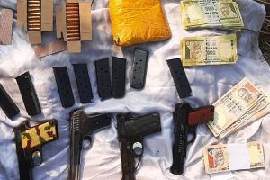 Bag containing arms, ammunition, heroin & fake currency recovered by BSF along Pakistan border