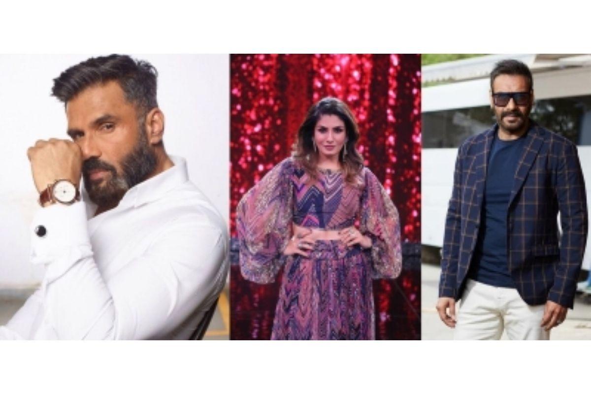 Raveena Tandon, Ajay Devgn, Suniel Shetty