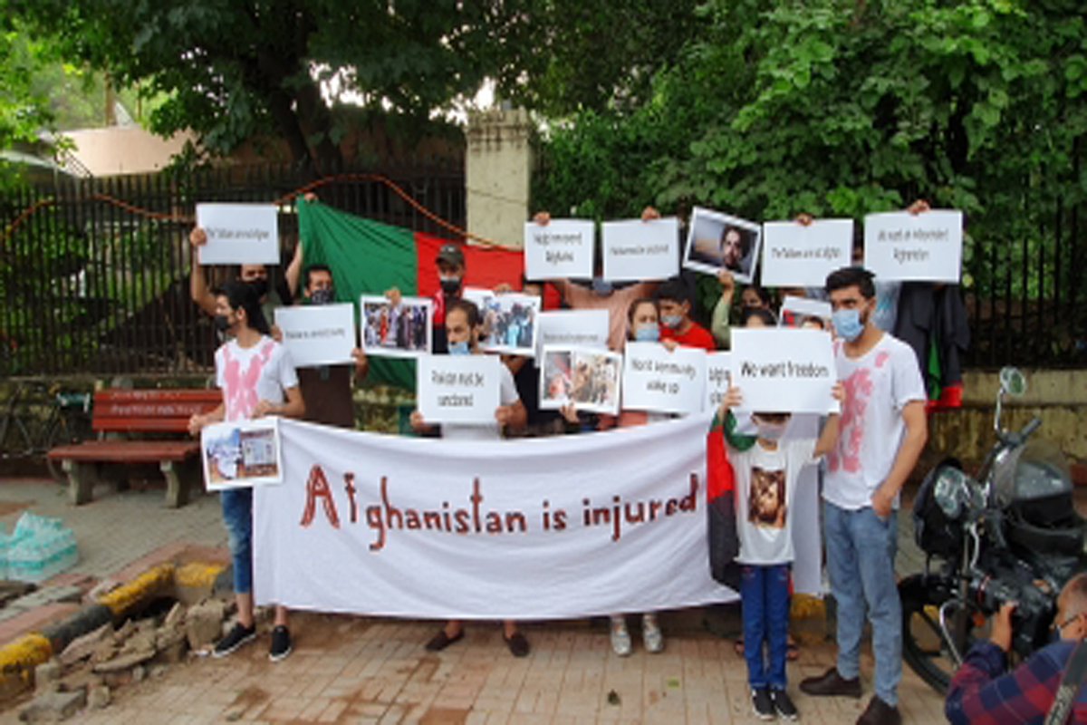 Afghan nationals, protest against Pakistan, Pakistani High Commission
