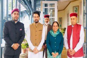Dhumal, Anurag Thakur visit Virbhadra's residence