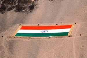 India's largest and heaviest Khadi Tricolor unfurled in Leh on Gandhi Jayanti